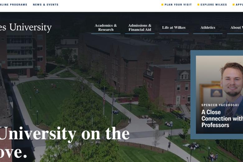 Wilkes University website homepage